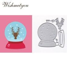 WISHMETYOU New Cutting Dies Crystal Ball Deer Snowflakes Scrapbook DIY Album Photos Embossing Metal Crafts Handmade