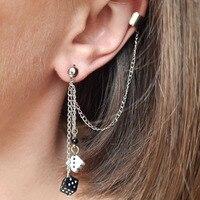 Dadi orecchini in bianco e nero casinò giochi da gioco gioielli da gioco eccentrico luce fortunato Dicey Ear Cuff regalo Die orecchini novità