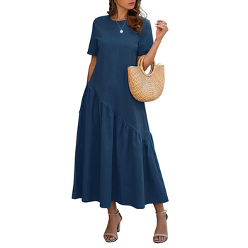2020 Summer Short Sleeve O Neck Women Dress Casual Maxi Dress Solid Loose Holiday Beach Sundress Ladies Long Dress vestidos D30 2019 spring new women half sleeve loose flavour black dress long summer vestido korean fashion outfit o neck big sale costume