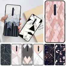 Jemy Plating Geometric Marble Black TPU Soft Phone Case Cover For OPPO R11 11S plus RENO 2Z R15pro R17pro Realme 2 3 3 5 5pro C2 plating tpu phone case for oppo reno 3 pro soft silicone upscale phone cases mobile phone accessories