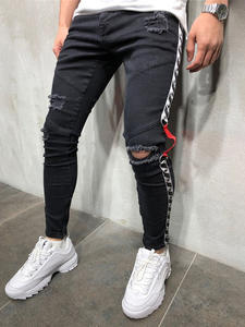 Distressed Jeans Pants Ripped Slim Stripe Side-Zipper for Men Tore-Up Knee-Hole
