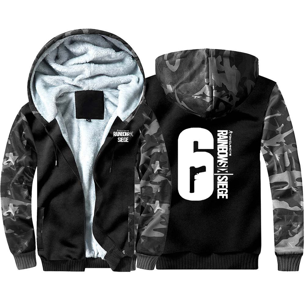 New Rainbow Six Tom Clancy's Camouflage Thick Hoodie Sweatshirts Winter Warm Hooded Coat Cosplay Anime Men Clothing