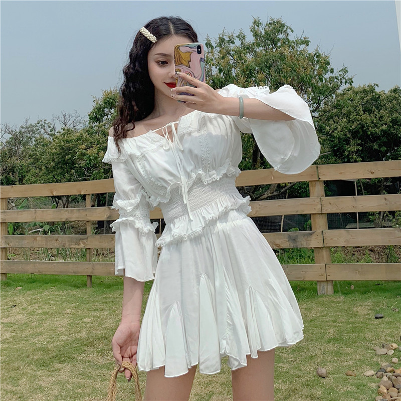 Photo Shoot 2019 WOMEN'S Dress Summer Lace Off-Shoulder Bell Sleeve Tops + Waist Hugging Puffy Short Skirt Set