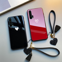 For OPPO R19 R17 R15 Pro R11 R9 Plus Case Free strap Red Black Heart Hard Glass Cover For oppo r15x  r9s r11s plus Casing glitter summer fruit soft case for oppo f5 f9 a83 a59 a57 a39 a79 a5 a3s a3 a7 a7x r15x k1 r17 pro r9 r9s r11 r11s plus cover