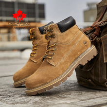 DECARSDZ 2020 Winter Black Genuine Leather Comfy Men Shoes Fashion Men Boots Man New Fashion design outdoor Men Casual Boots