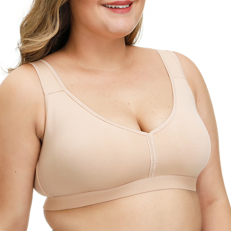 Women Big Size Sexy Underwear No-padded Bra Full Cup Unlined Bras  Wire Free Brassiere Plus Size 36-54 A B C D DD E F FF G H