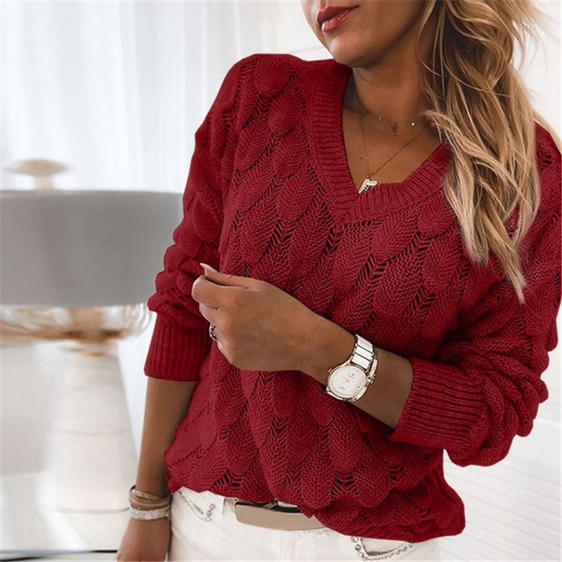 Women V Neck Solid Knitted Casual Sweater Female Fashion Autumn Winter Pullover Loose Long Sleeve Jumpers Sweaters Hot Sale
