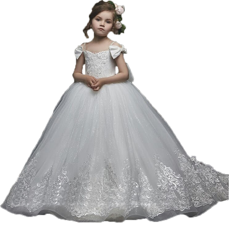 Elegant Girls First Communion Dresses White Kids Ball Gown Applique Lace Tulle Little Bride Ivory Flower Girl Dresses With Train