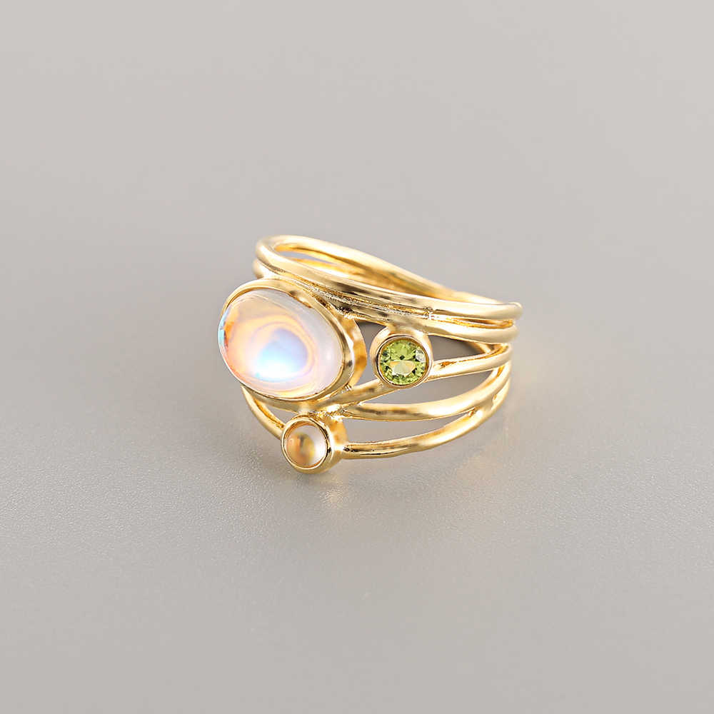 BOAKO 2019 colorful moonstone ring for women European creative multi-layers simulation shell rings Jewelry female bijouterie B3