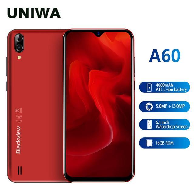 חדש אדום צבע Blackview A60 3G נייד טלפון אנדרואיד 8.1 Smartphone Quad Core 4080mAh נייד 1GB 16GB 6.1 אינץ 19.2:9 מסך
