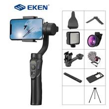 EKEN H4 3 Axis USB Charging Video Record Support Universal Adjustable Direction Handheld Gimbal Smartphone Stabilizer Vlog Live
