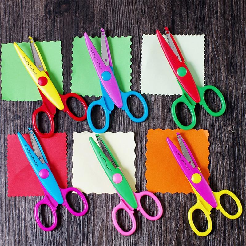1pcs Scissors Metal And Plastic Diy Scrapbooking Photo Colors Scissors Paper Lace Diary 6 Patterns Craft Scissors