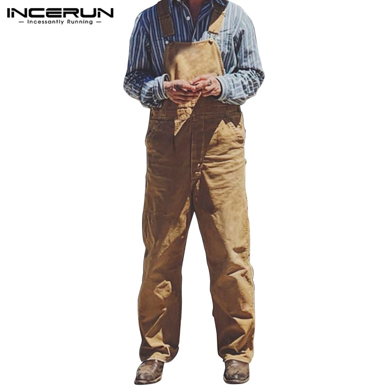 INCERUN Solid Color Men Jumpsuit Straight Pants Straps 2019 Casual Baggy Suspender Fashion High Street Men Overalls Romper S-5XL