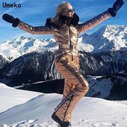 Umeko 2020 зимний комбинезон с капюшоном, парка с хлопковой подкладкой, теплый лыжный костюм с поясом, прямые женские повседневные спортивные ко...