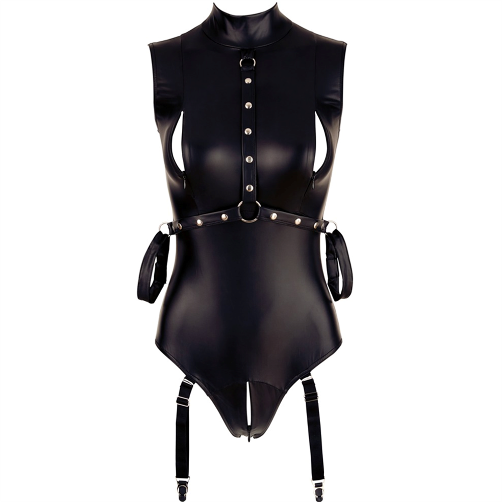 PU Leather Sexy Zipper Crotch Bodysuit Women Sleeveless Summer Slim Rompers Womens   Jumpsuit   Black Casual Playsuit Women