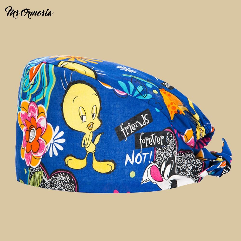 Quality Little Yellow Duck Print Men And Women 100% Cotton Doctor Care Cap Pet Hospital Dental Nurse Cap Surgical Cap Beauty Hat