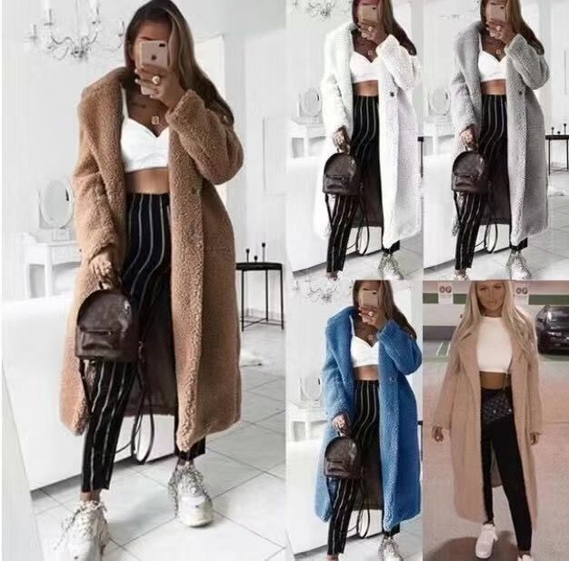 H9c726a67fdcc4fee8add449684a5f49cQ Faux Fur Teddy Coat Women Autumn Winter 2020 Casual Plus Size Long Jacket Female Thick Warm Outwear Oversize Fur mujer chaqueta
