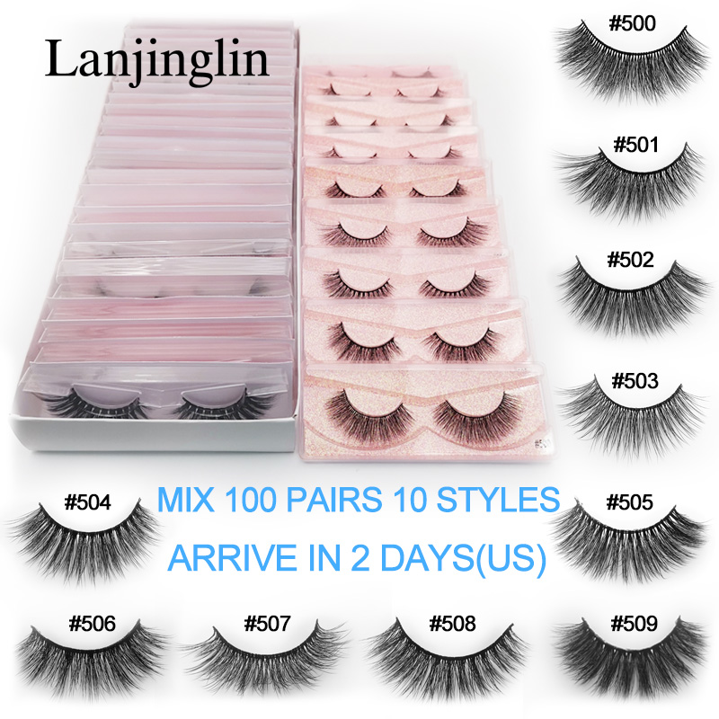 LANJINGLIN Bulk 20/30/40/50/100 Pairs Wholesale Natural Long False Eyelash 100% Cruelty Free 3d Mink Lashes Fluffy Eyelashes