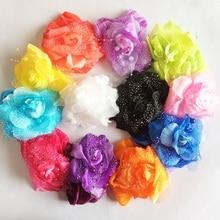1 Pcslot New Hair Accessories Kids Girls Lace Headband Big Chiffon Flower Hairband Girl Hair Weave Band
