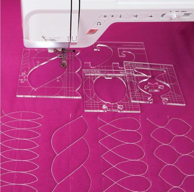 재봉틀을위한 새로운 통치자 국경 샘플러 템플릿은 아름다운 테두리를 만들 수 있습니다 1 set = 4pcs # RL 04W