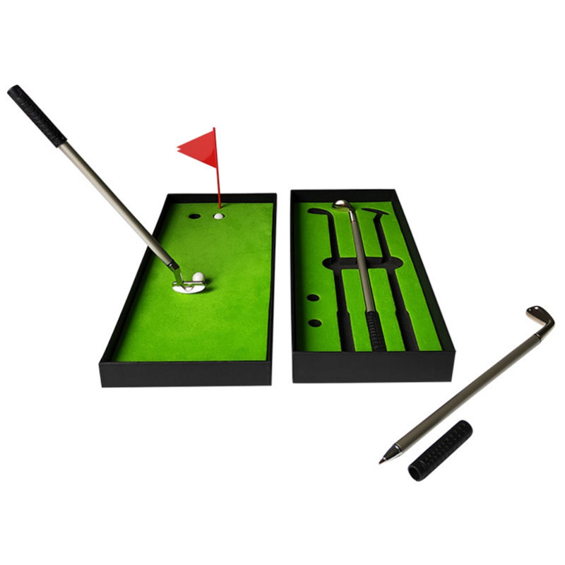 Mini Golf Ball Pen Gift Set Putting Green Flag Golf Clubs Models Ballpoint   Golf Course Pole Club Set Golf Pen Set Mini Desktop