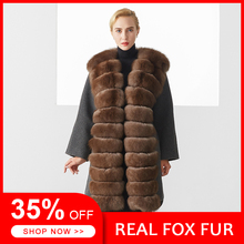 New Trendy Winter Coat Women Luxury Brown Color Elegant Casual Warm Long Section Real Fox Fur Female Plus Size