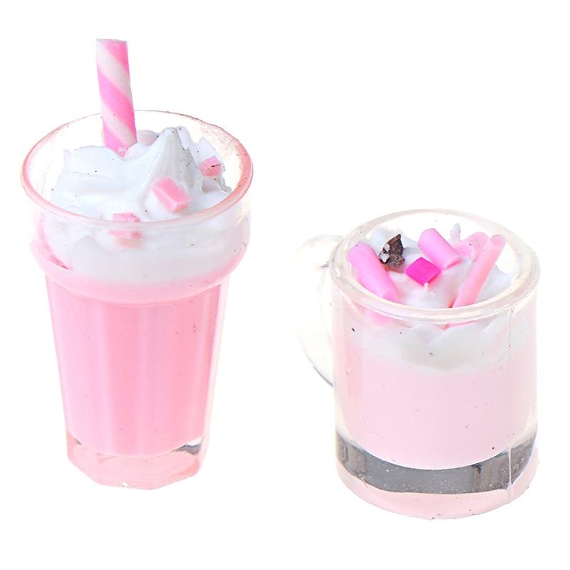 Hot Sale 1:12 Dollhouse Miniature Scene Model Drink Pretend Play Simulation Strawberry Milkshake Doll House Accessories Kids Toy
