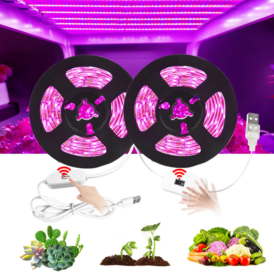 Led Grow Light Strip 2835 Full Spectrum Flower Plant Phyto Growth Lamp 5V USB With Touch Dimming For Indoor Greenhouse Grows