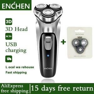 Image 1 - 電気シェーバー男性の髭トリマーかみそりenchenシェーバーシェービングマシンオリジナル3ヘッドドライ、ウェットシェービング洗えるカミソリ