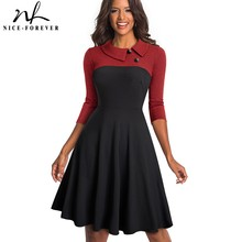 Nice forever Women Vintage Turn Down Collar Pinup Button vestidos A Line Business Party Flare Swing Female Dress A136