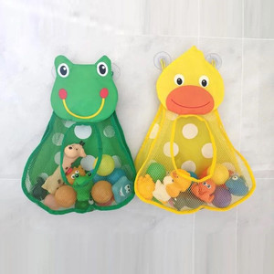 Baby Shower Bath Toys Duck Little Frog Rabbit Baby Kid Toy Storage Mesh with Strong Suction Cups Toy Bag Net Bathroom Organizer(China)