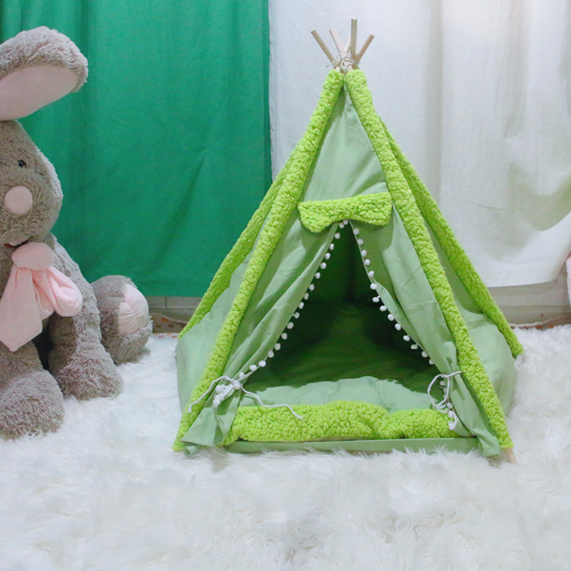 dog teepee tent green