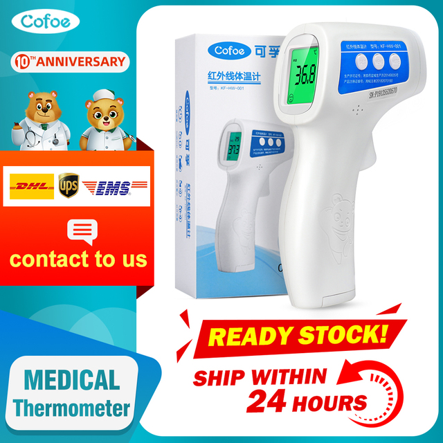 $ US $42.92 Cofoe  Forehead Thermometer Non Contact Infrared Thermometer Body Temperature Fever Digital Measure Tool for Baby Adult