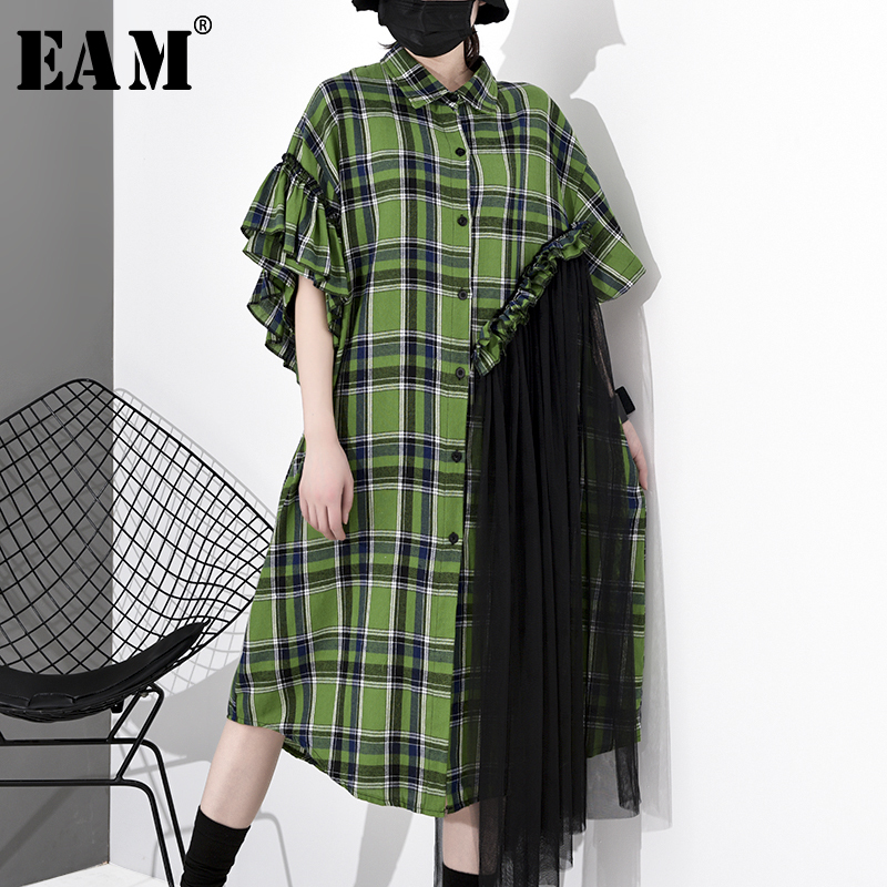 [EAM] Women Green Plaid Mesh Stitch Big Size Shirt Dress New Lapel Half Sleeve Loose Fit Fashion Tide Spring Autumn 2020 1S037