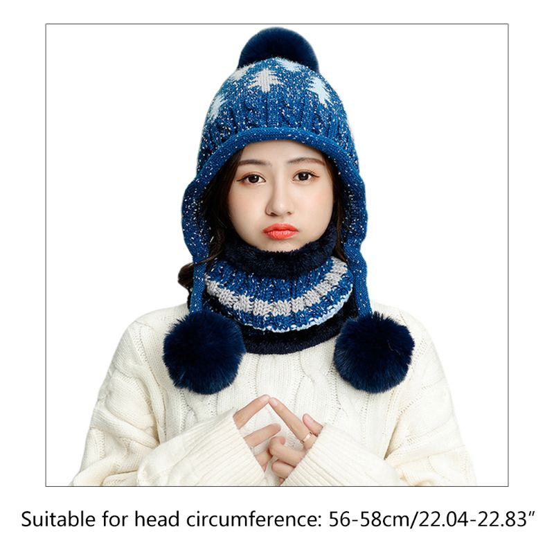 Women Tree Cable Knit Pompom Beanie Earflap Hat Plush Lined Infinity Scarf Set C6UD
