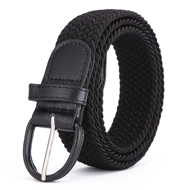 Men Women Elastic Stretch Waist Belt Black Canvas Stretch Braided Elastic Woven Leather Belt Wide Hot Metal Stretch Men's Belts