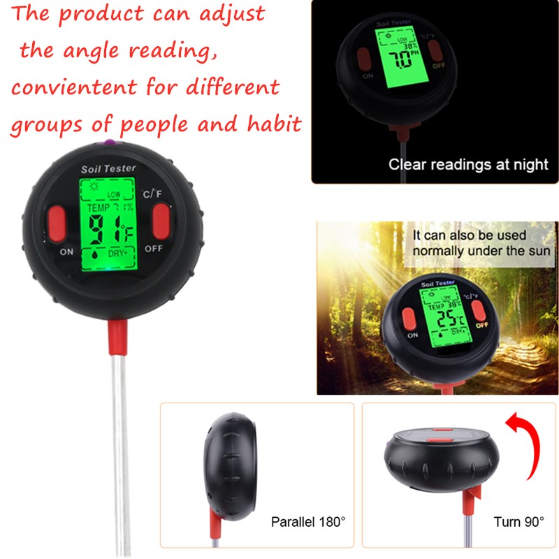 Image 3 - 5 in 1 PH Soil Tester Water Moisture Meter Humidity Thermometer  Photometer Water Meter Garden Plants Hydroponics Analyze 40%offPH  Meters