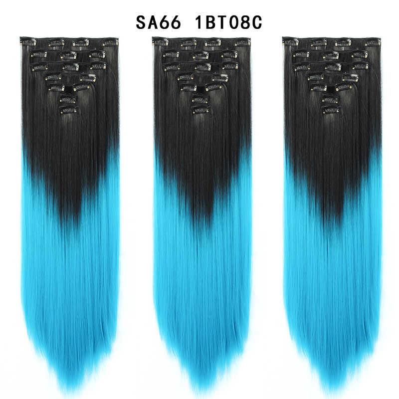 """7 قطعة/المجموعة 22 """"هيربيسي 130G مستقيم 16 مقاطع في كاذبة تصفيف الشعر الاصطناعية دبابيس داخل وصلات الشعر المستعار الحرارة مقاومة يونيس"""