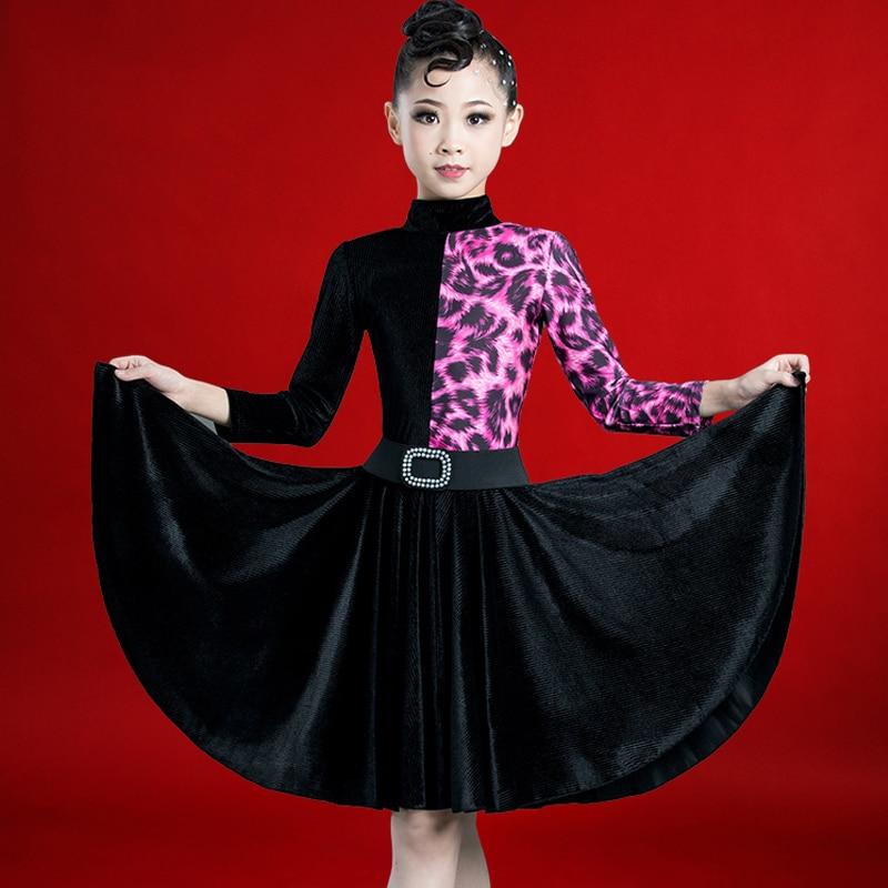 Robe de danse latine filles de haute qualité à manches longues robes léopard salle de bal Cha Cha concours scène Costumes DWY2310