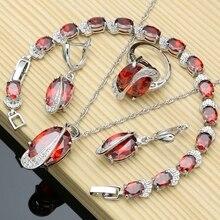 Zilver 925 Sieraden Rode Zirconia Wit Cz Sieraden Sets Voor Bruiloft Oorbellen/Hanger/Ketting/Ringen/armband T224