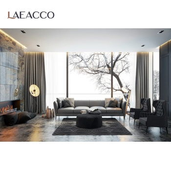 Laeacco 3D Living Room French Window Winter Scenic Photography Background Photographic Backdrop For Photo Studio Photocall