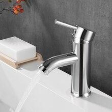 Chromowana bateria do łazienki zlewowa typu waterfall kran krzywa pochyła umywalka do łazienki woda z kranu mieszacz do umywalki kran wody pojedynczy uchwyt otwór