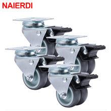NAIERDI – roulettes robustes pivotantes en caoutchouc souple avec frein, 2 pouces, 4 pièces