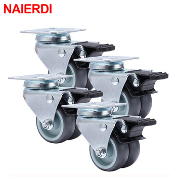 Rodas dos rodízios de naierdi 4 pces rolo de borracha macio resistente do giro de 2 polegadas com freio para as rodas da mobília do trole da plataforma