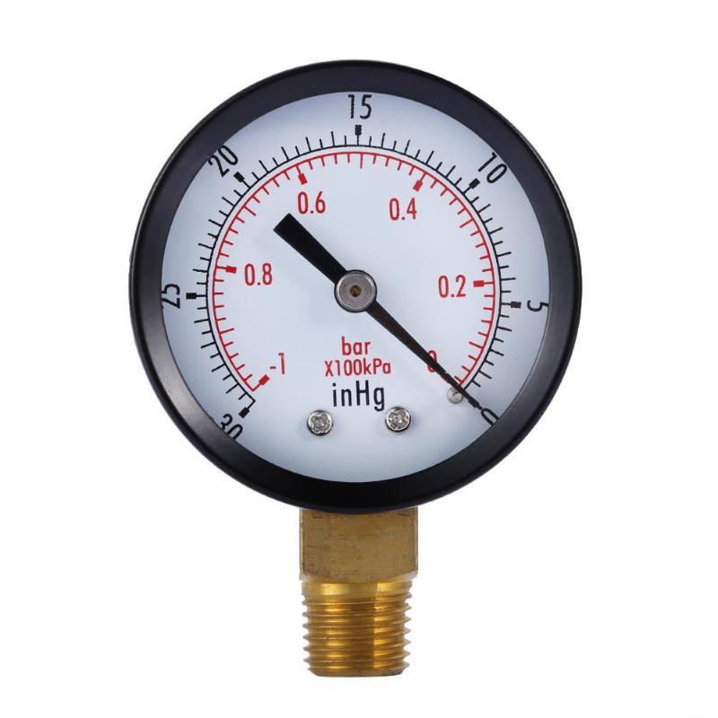 Dry Utility Vacuum Pressure Gauge Blk.Steel 1/4