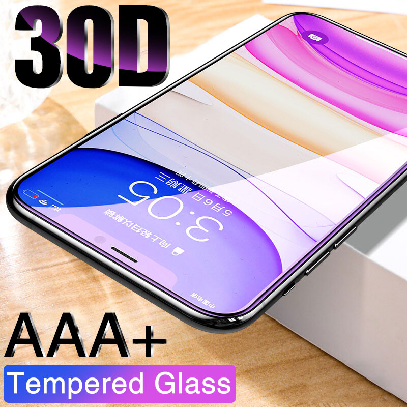 30d aaa + capa completa de vidro protetor de proteção para iphone 11 12 pro max 12mini iphone x xr xs max temperado protetor de tela borda curvada