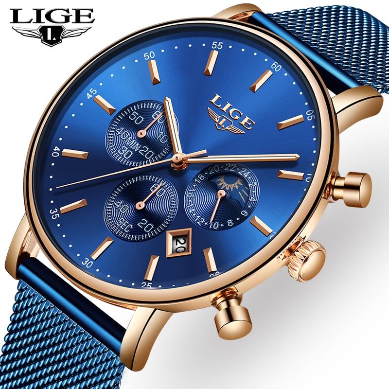 LIGE mode hommes montres homme Top marque de luxe montre à Quartz décontracté Slim robe étanche Sport montre-bracelet Relogio Masculino