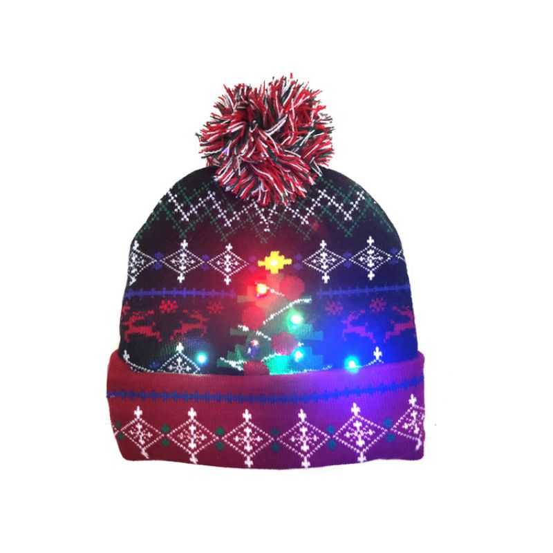 LED Christmas Hats Beanie Sweater Christmas Santa Hat Light Up Knitted Hat For Kid Adult For Christmas Party