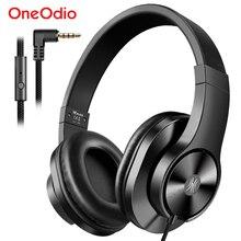 Oneodio t3 com fio fones de ouvido sobre a orelha fone com microfone estéreo baixo fone de ouvido ajustável para o telefone móvel