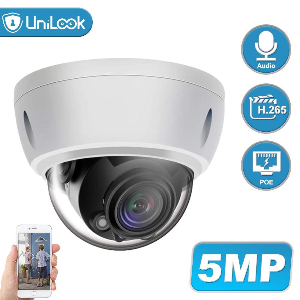 UniLook 5MP Dome POE IP Camera Built In Microphone Outdoor Security CCTV Camera Weatherproof IP 66 IR 30m Support ONVIF H.265
